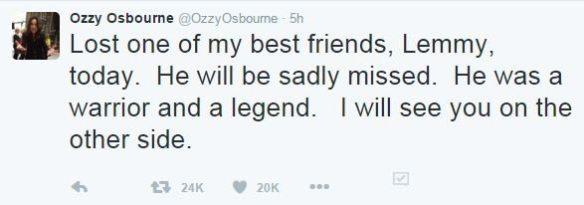 ozzy tweets lemmy RIP