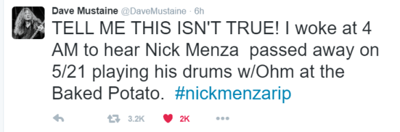 mustaine tweets about nick menza rip ghostcultmag