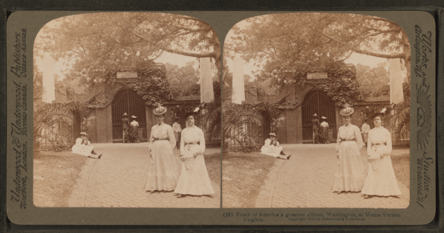 Women visiting Washington's tomb circa 1903