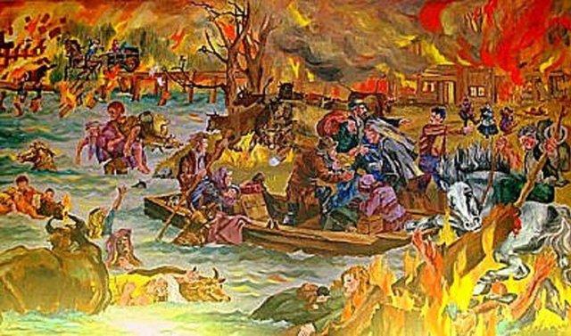 Mural of Peshtigo Fire