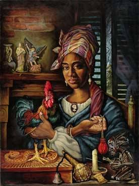 Painting of Marie Laveau with rooster