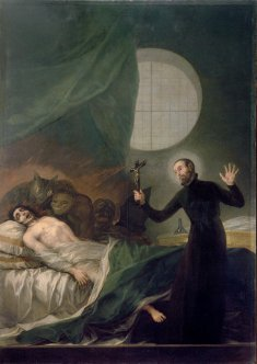 Francisco Goya. A painting by Goya, of Father General, Saint Francis Borgia, SJ performing an exorcism.