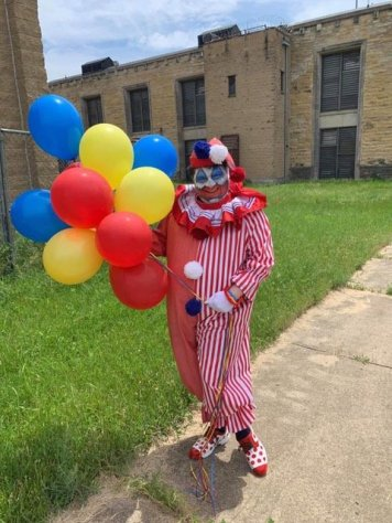 Nick Mataragas as John Wayne Gacy dressed as Pogo the clown
