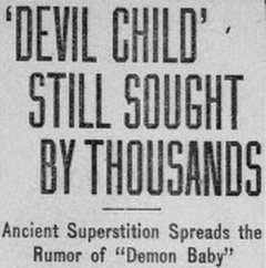 Devil Child' Still Sought By Thousands Newspaper Headline
