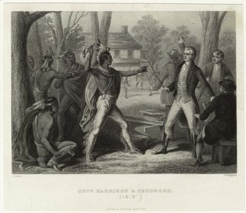 "This print depicts Tecumseh meeting with William Henry Harrison in 1810. Tecumseh biographer John Sugden describes this depiction as ""extremely inaccurate,"" particularly the clothing of the Native Americans.John Reuben Chapin and William Ridgway (engraver), circa 1818."