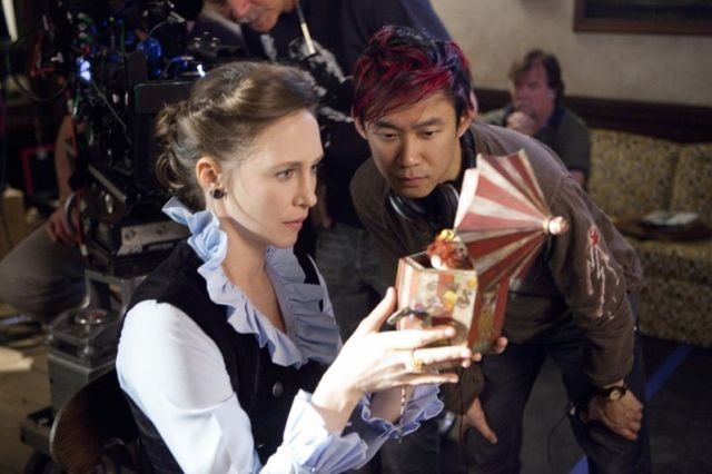 """Vera Farmiga inspects a spooky prop on the set of """"The Conjuring.""""(Michael Tackett) https://www.nydailynews.com/entertainment/tv-movies/conjuring-plagued-real-spooks-director-article-1.1398134"""