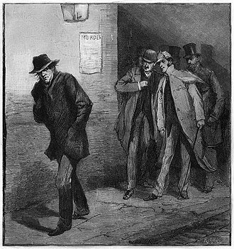 """One of a series of images from the Illustrated London News for October 13, 1888 carrying the overall caption, """"With the Vigilance Committee in the East End"""". This specific image is entitled """"A Suspicious Character""""."""