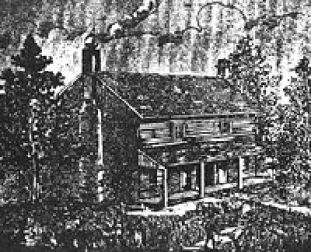 An artist's sketching of the Bell home, originally published in 1894 Home of Bell Witch hauntings