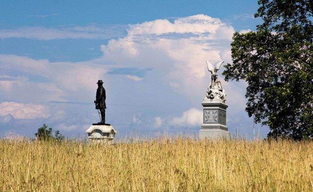Two monuments on Oak Ridge.NPS Photo - Gettsyburg