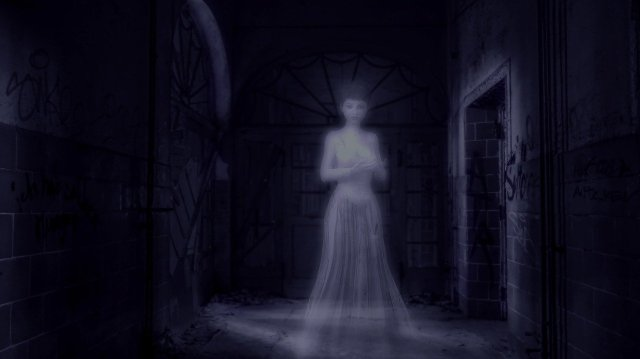 Transparent woman ghost in a hallway by a door. https://pixabay.com/illustrations/dark-night-ghost-alone-isolation-3782985/