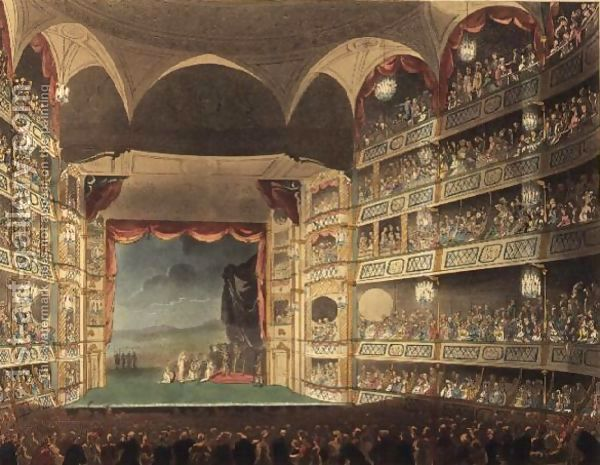 The interior of the third and largest theatre to stand at Drury Lane, c. 1808 Interior of Theatre Royal, Drury Lane. Circa 1808. Mistakenly ascribed to John Bluck by the website, but actually published as Plate 32 of Microcosm of London (1808) (see File:Microcosm of London Plate 009 - Billingsgate Market.jpg). The play is Coriolanuis, according to p. 43 of Sheridon Studies, Cambridge University Press (1995).