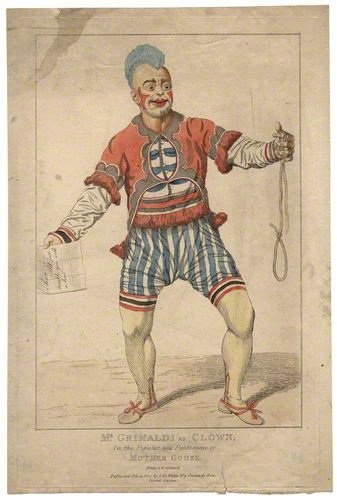 Joseph Grimaldi, frequent performer at Drury Lane. published by Samuel De Wilde, etching, published 14 February 1807