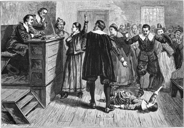 Witchcraft at Salem Village. Engraving. The central figure in this 1876 illustration of the courtroom is usually identified as Mary Walcott. https://en.wikipedia.org/wiki/Salem_witch_trials#/media/File:Witchcraft_at_Salem_Village.jpg