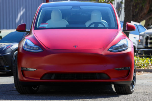 Tesla Model Y Satin Clear Bra Full Car Wrap Ghost Shield Film Thousand Oaks
