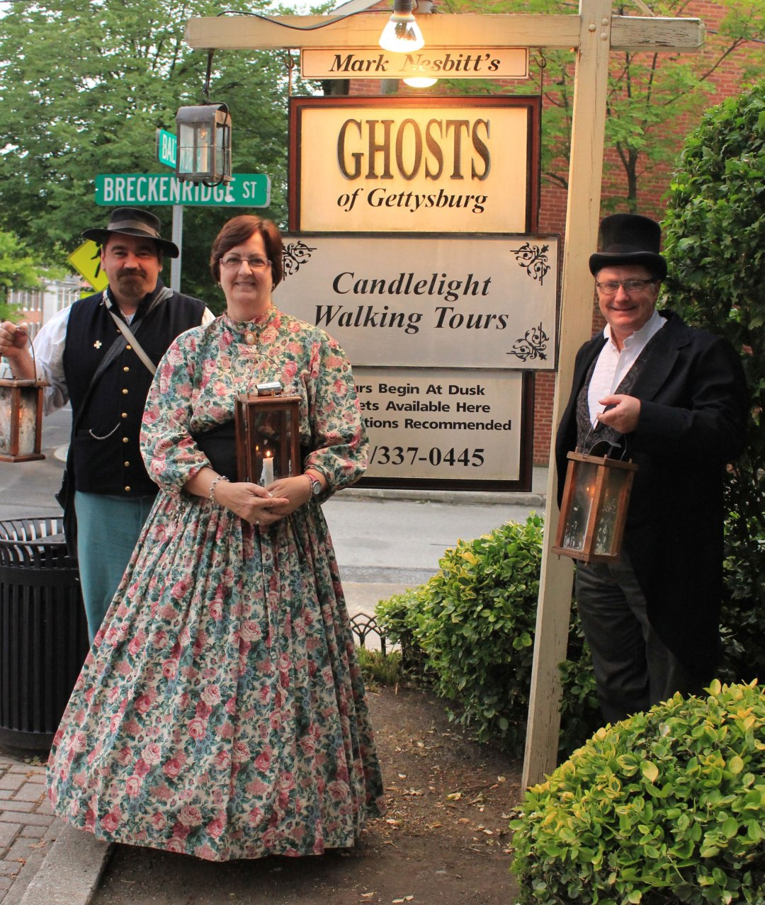 Ghosts of Gettysburg Guides with Ghosts of Gettysburg sign