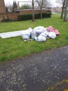 Litter pick rubbish pile