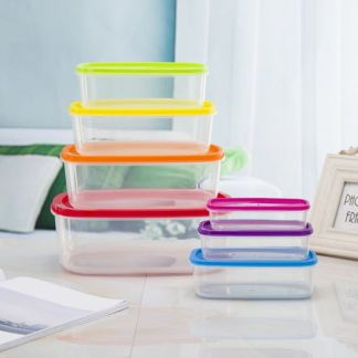 7 pieces Rainbow Colors Food Storage Boxes