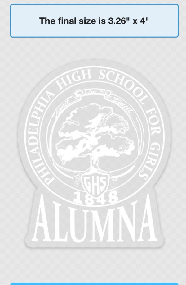 Car decal, clear with white ink
