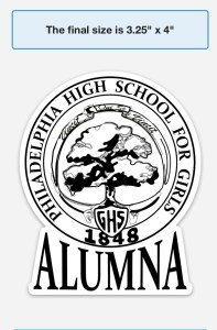 GHS Alumna Car Magnet white with black ink