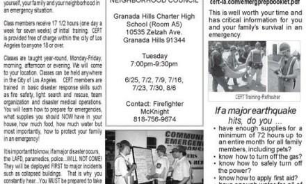 Free Cert Class Begins in Granada Hills Next Week – 7 Consecutive Tuesdays at GHCHS