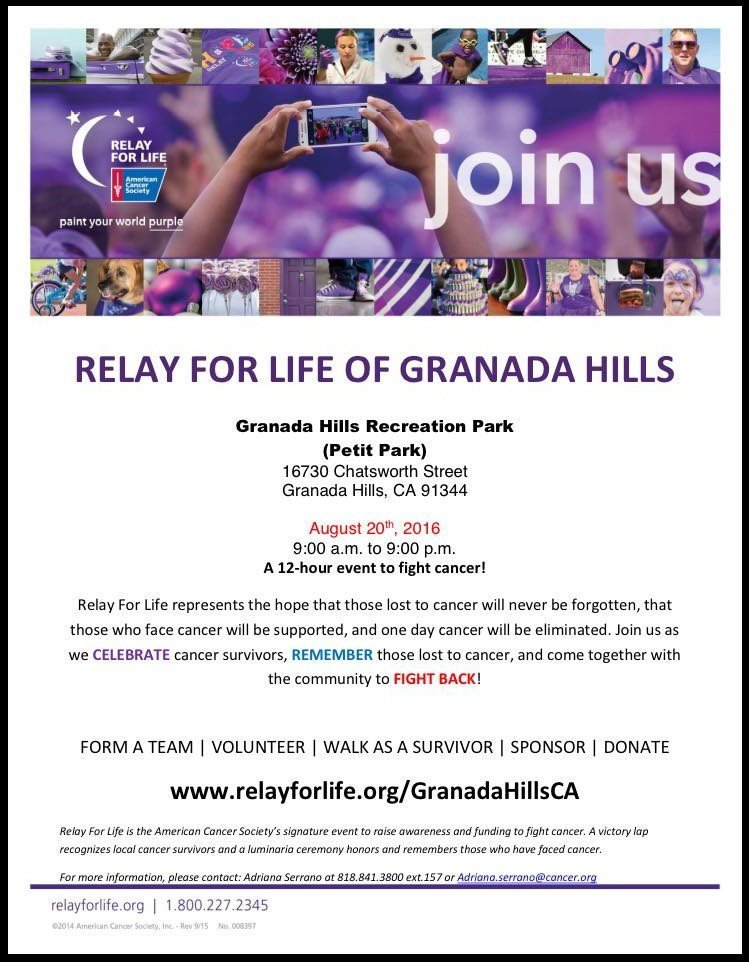 Granada Hills Relay For Life – August 20, 2016