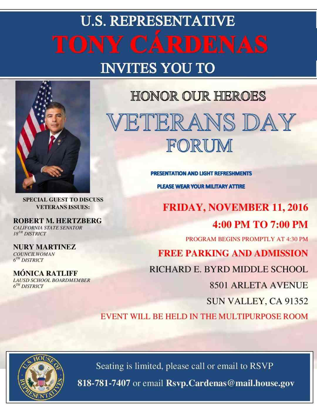 Congressman Tony Cárdenas Veterans Day Forum