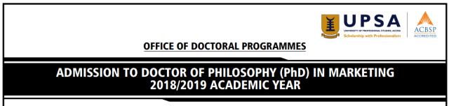 UPSA PhD in Marketing Admission Form