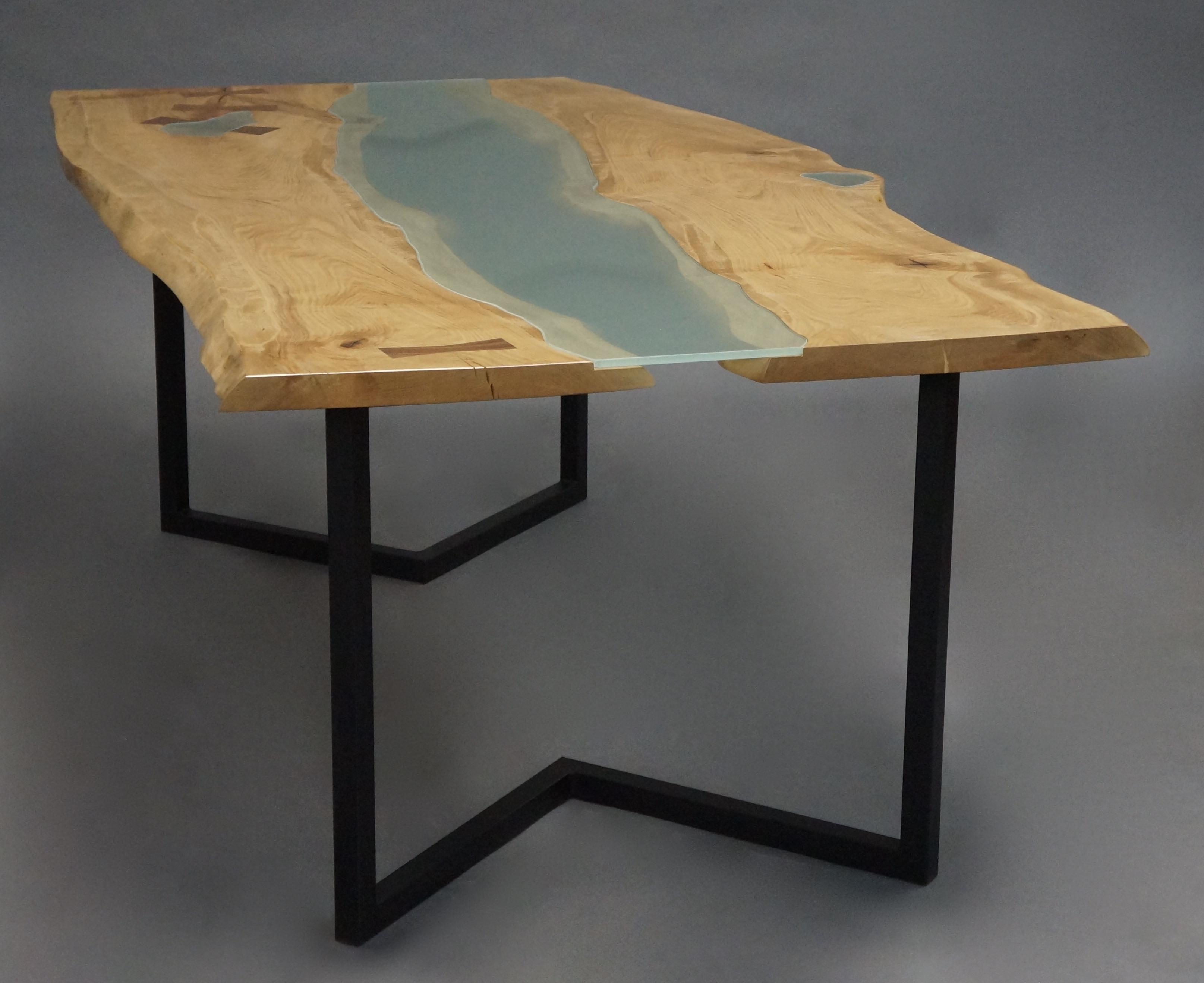 Maple and Glass Slab Dining Table  GHW Studio