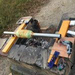 BBQ でバームクーヘンを作る装置