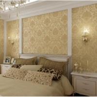 Buy European sprinkle gold woven brown flocked wallpaper