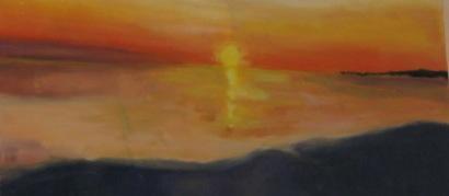 Sunset over water (detail), in oil, by Elizabeth MacFarland, Niskayuna, NY