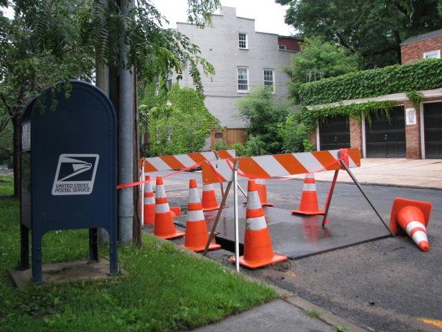 Orange - Wash Ave. cones, horses, mailbox near Union St. - 02July09