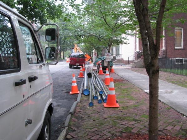 Orange Cones Curbside with Van - 10 Wash. Av. - 01July2009