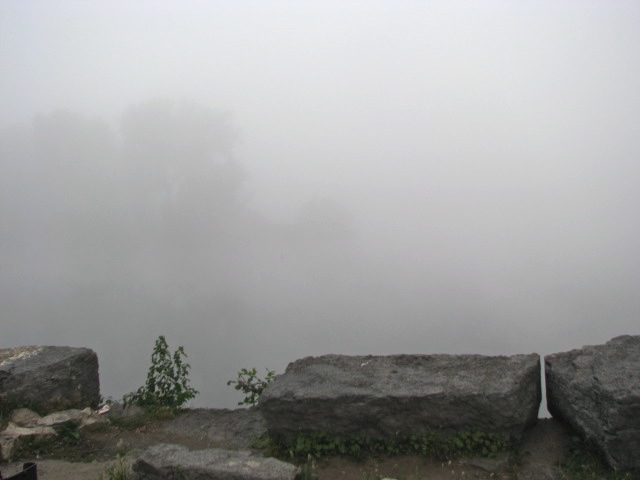 a view of the Isle of the Cayugas in the Mohawk River from the end of Washington Ave., Schenectady, on a foggy morning - 7 AM 21Sep09