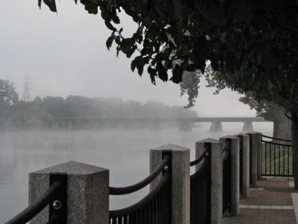 CSX rail bridge in the fog as seen from Riverside Park esplanade - 8 AM 21Sep09