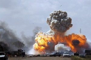 Picture of warfare, bombs exploding