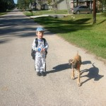Dante walking to the farm with Luigi
