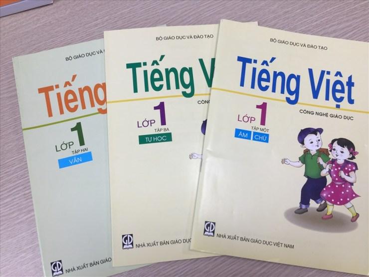Bộ sách Tiếng Việt lớp 1 Công nghệ giáo dục. Ảnh: Nguyễn Hà