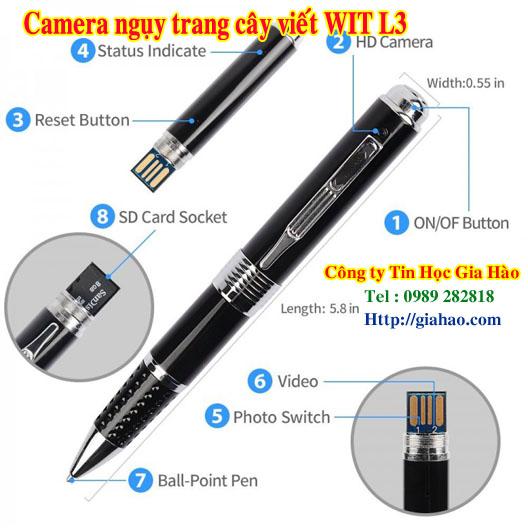 Camera ngụy trang cây viết / camera ngụy trang cây bút WIT L3 của công ty Tin Học Gia Hào có độ phân giải lên đến Full HD 2K cho hình ảnh cực kỳ sắc nét