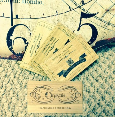 cirqusoria etched wooden business cards