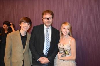 Gianna and CJ with Rainn Wilson at The Stream premier