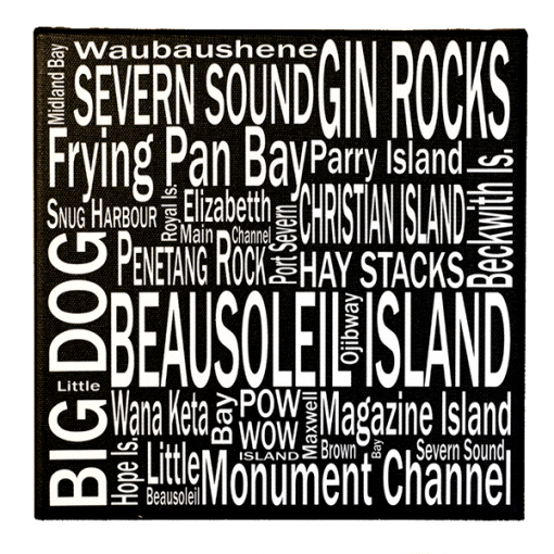 Canvas Print | 30,000 Destinations Square | Giants Tomb Trading Co - Beausoleil Island