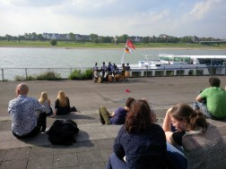 Sitting along the Rhine, with Ghana musicians!