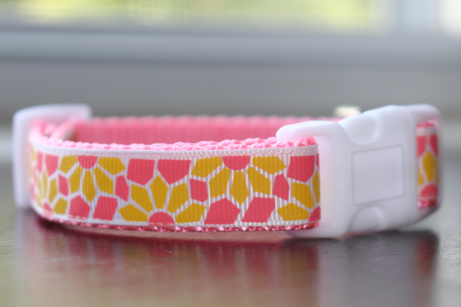 Pink And Yellow Flower Dog Collar Gibbons Ribbons