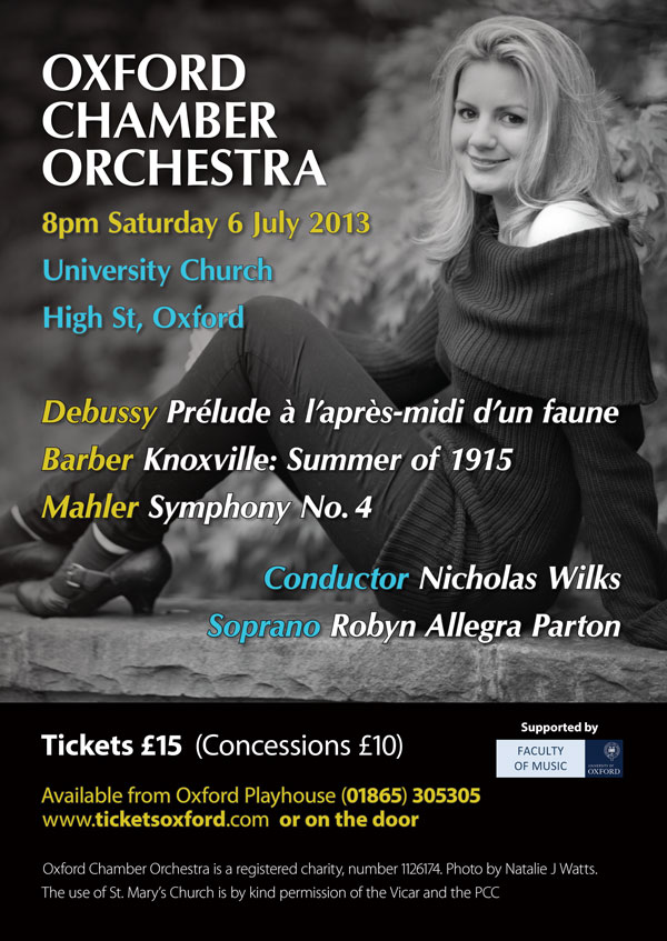 Oxford Chamber Orchestra poster July 2013