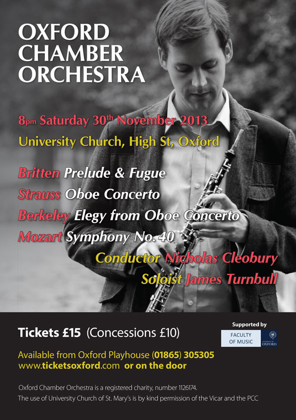 November 2013 Oxford Chamber Orchestra poster.