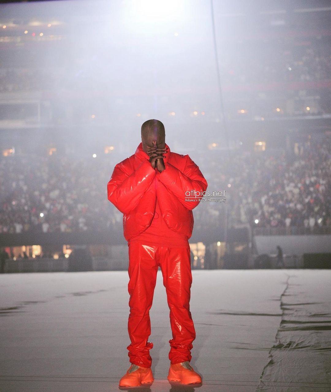 Kanye West Debuts Donda Album in Atlanta in All Red Yeezy x Gap Look + Kim and Khloe Kardashian Attend in Rick Owens
