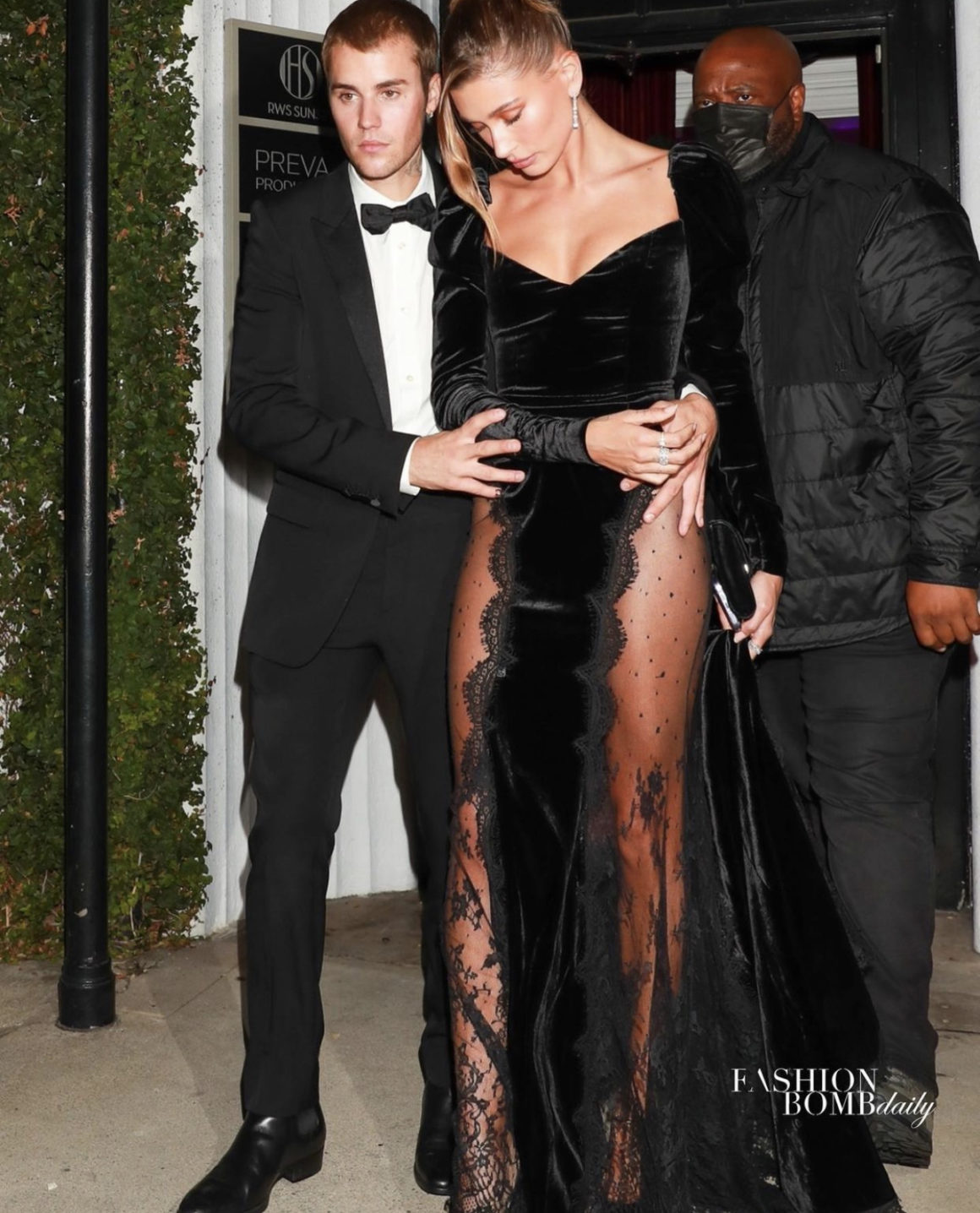 Hailey Bieber Attends Justin Bieber's 'Freedom Art Experience' Exhibition in LA Wearing Alessandra Rich Fall 2021 Black Velvet Lace Dress