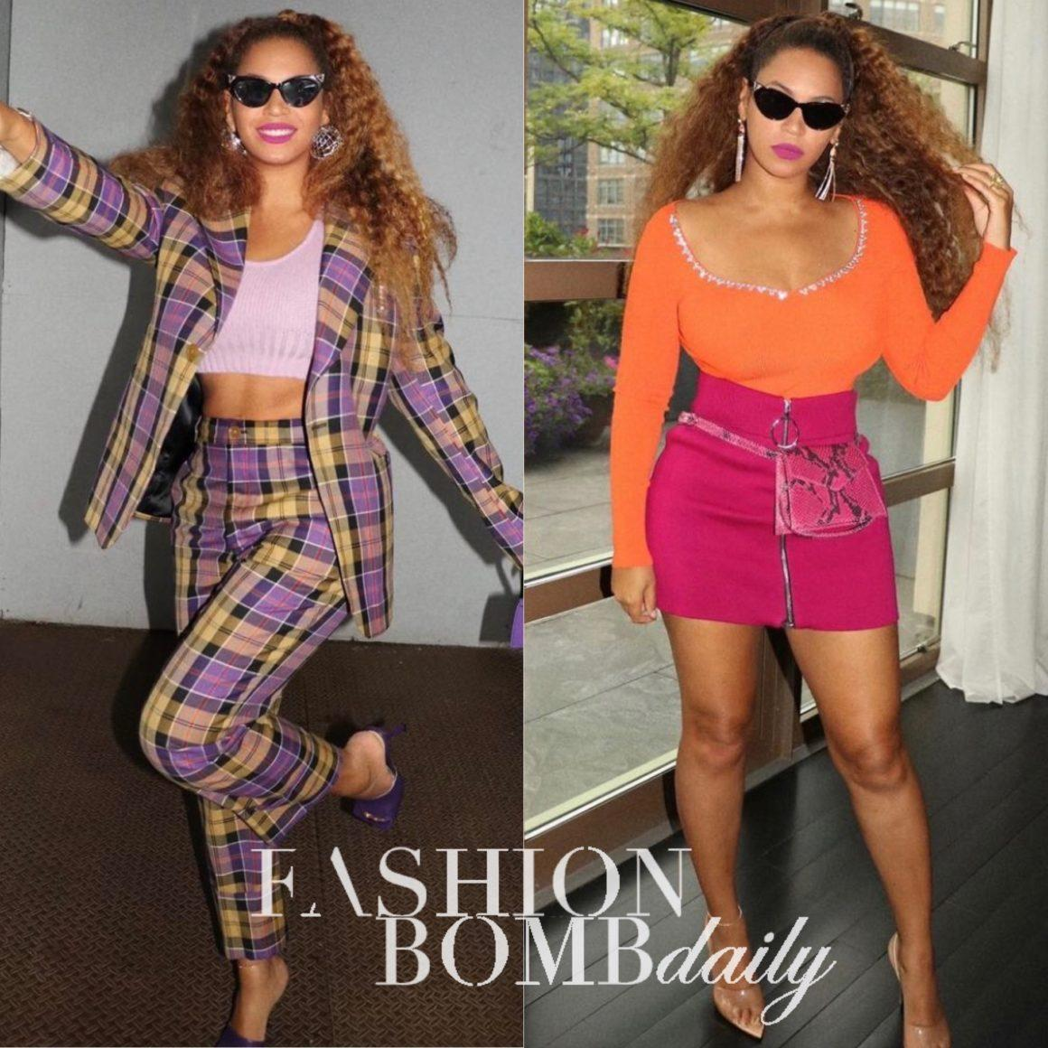 Beyoncé Shares Two New Looks Wearing Vivienne Westwood Checkered Pantsuit and Area Orange Crystal Trim Bodysuit With Pink Zippered Mini Skirt