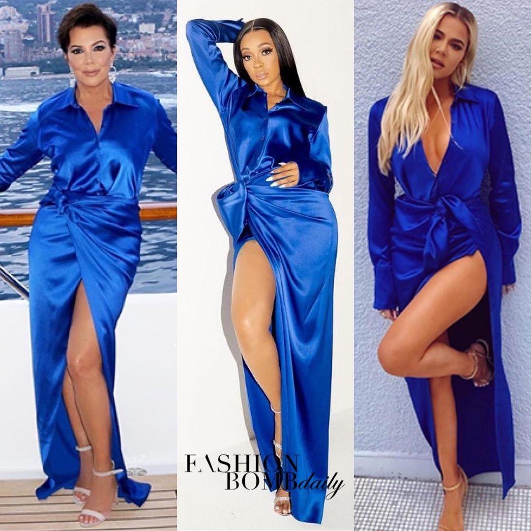 Celebs Love: Monica, Kris Jenner, and Khloe Kardashian Spied in Balenciaga Blue Satin Blouse and Wrap Maxi Skirt
